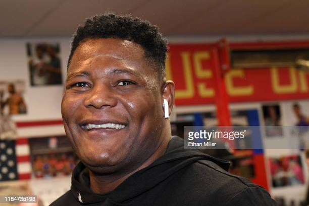 Boxer Luis Ortiz arrives at a media workout at Las Vegas Fight Club on October 31 2019 in Las Vegas Nevada Ortiz is scheduled for a rematch against...