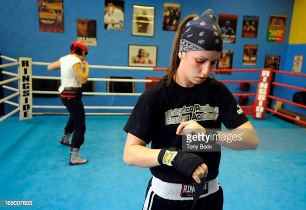 APRIL01 2010 Boxer Mandy Bujold working out at the Atlas Gym on St Clair She is sparring with Priscilla Trompowsky Tony Bock/Toronto Star