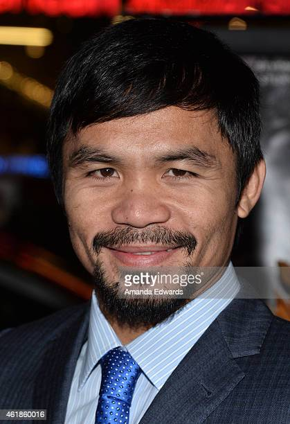 Boxer Manny Pacquiao arrives at the Los Angeles premiere of 'Manny' at the TCL Chinese Theatre on January 20 2015 in Hollywood California