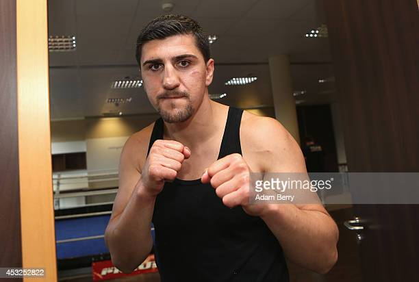 Boxer Marco Huck prepares for a training session on August 6 2014 in Neuruppin Germany