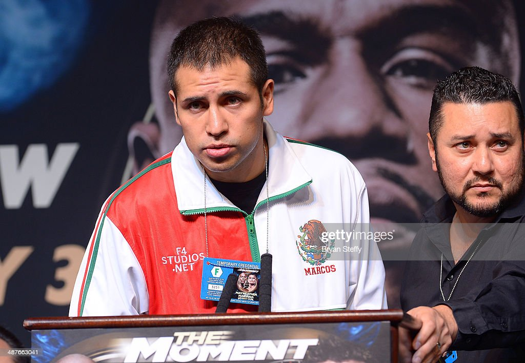 Boxer Marco Periban speaks onstage during the undercard final press conference at the MGM Grand Hotel/Casino on May 1, 2014 in Las Vegas, Nevada.