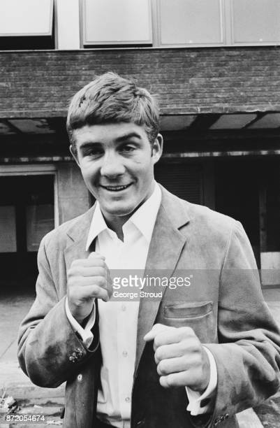 Boxer Mark Rowe holding his fists up UK 2nd August 1967