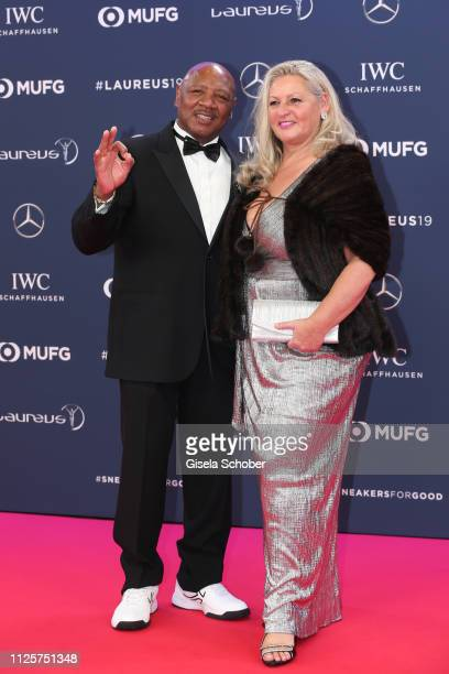 Boxer Marvelous Marvin Hagler and his wife Kay Guarrera during the Laureus World Sports Awards 2019 at Monte Carlo Sporting Club on February 18 2019...