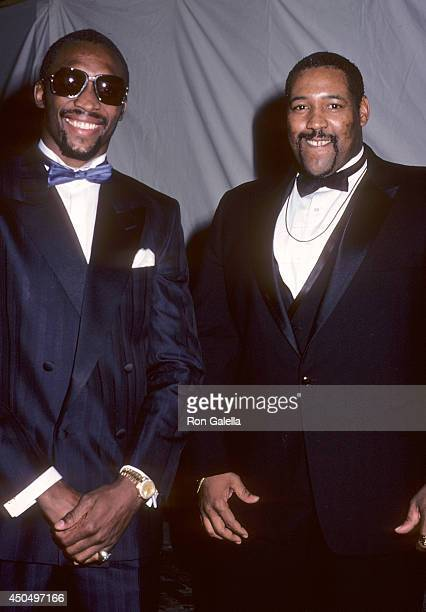 Boxer Marvin Hagler and athlete William Perry attend the 'Rocky IV' Westwood Premiere on November 21 1985 at the Mann Village Theatre in Westwood...