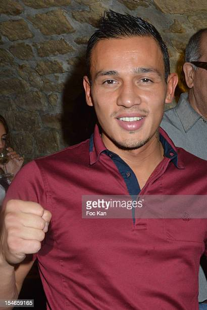 Boxer Mickael Lallemend attends the 'Les 10 Ans de Marc Mitonne' Party Hosted by '2 Mains Rouges' at the Marc Mitonne Restaurant on October 23 2012...