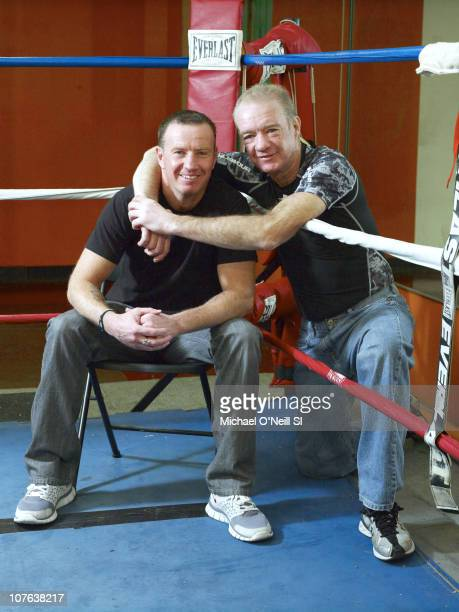 Boxer Micky Ward and trainer Dicky Eklund during a photo shoot at Church Street Boxing Gym photographed for Sports Illustrated in New York City New...