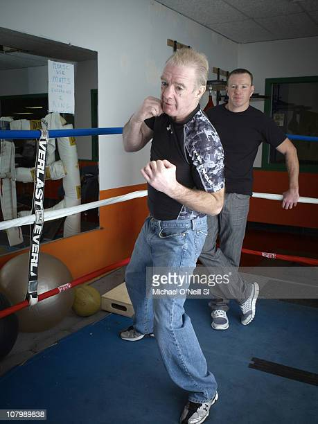 Trainer Dicky Eklund and Boxer Micky Ward pose for a portrait session on December 9 in New York New York