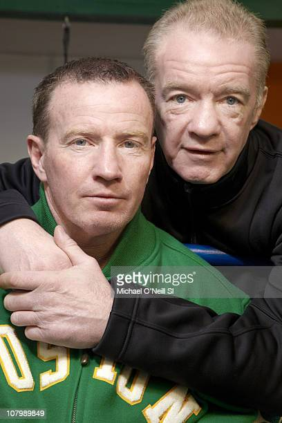 Boxer Micky Ward and trainer Dicky Eklund pose for a portrait session on December 9 in New York New York