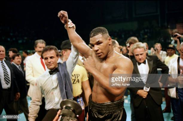 Boxer Mike Tyson beats Tyrell Biggs at Convention Hall in Atlantic City New Jersey October 16 1987