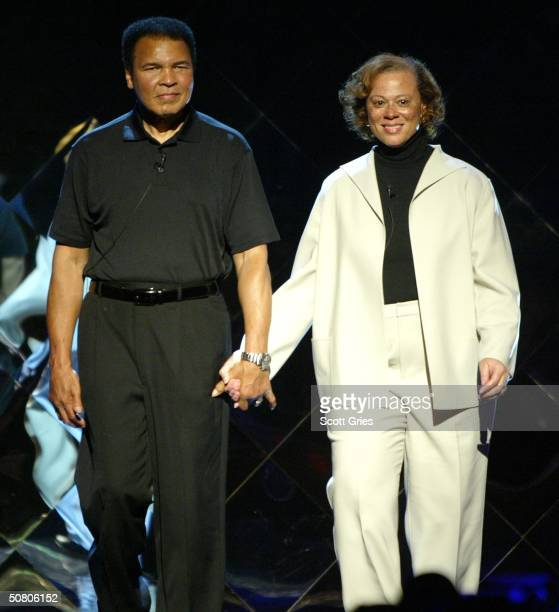 Boxer Muhammad Ali and wife Lonnie attend the MTV Networks UpFront at The Theater at Madison Square Garden May 05 2004 in New York City