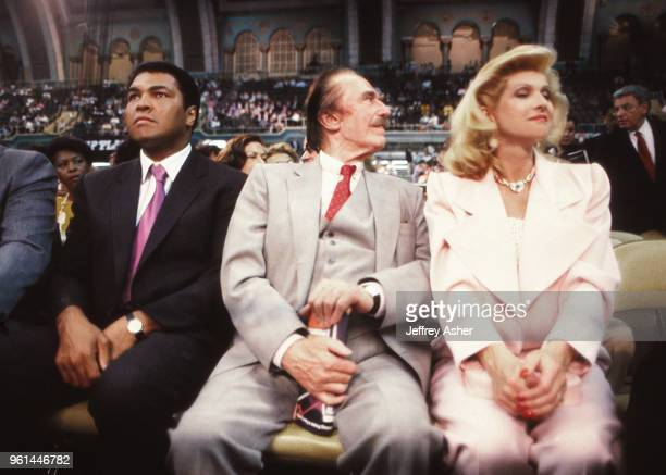 Boxer Muhammad Ali Businessman Fred Trump and First Wife of Donald Trump Ivana Trump ringside at Tyson vs Holmes Convention Hall in Atlantic City New...