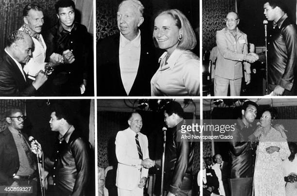Boxer Muhammad Ali greets celebrities including Henry Armstrong Buster Crabbe Don Budge Nancy Kiner Jackie Fields Stachel Paige Mel Patton and Althea...