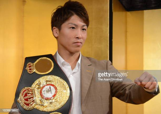 Boxer Naoya Inoue attends a press conference as he is participating the World Boxing Super Series on August 21 2018 in Tokyo Japan