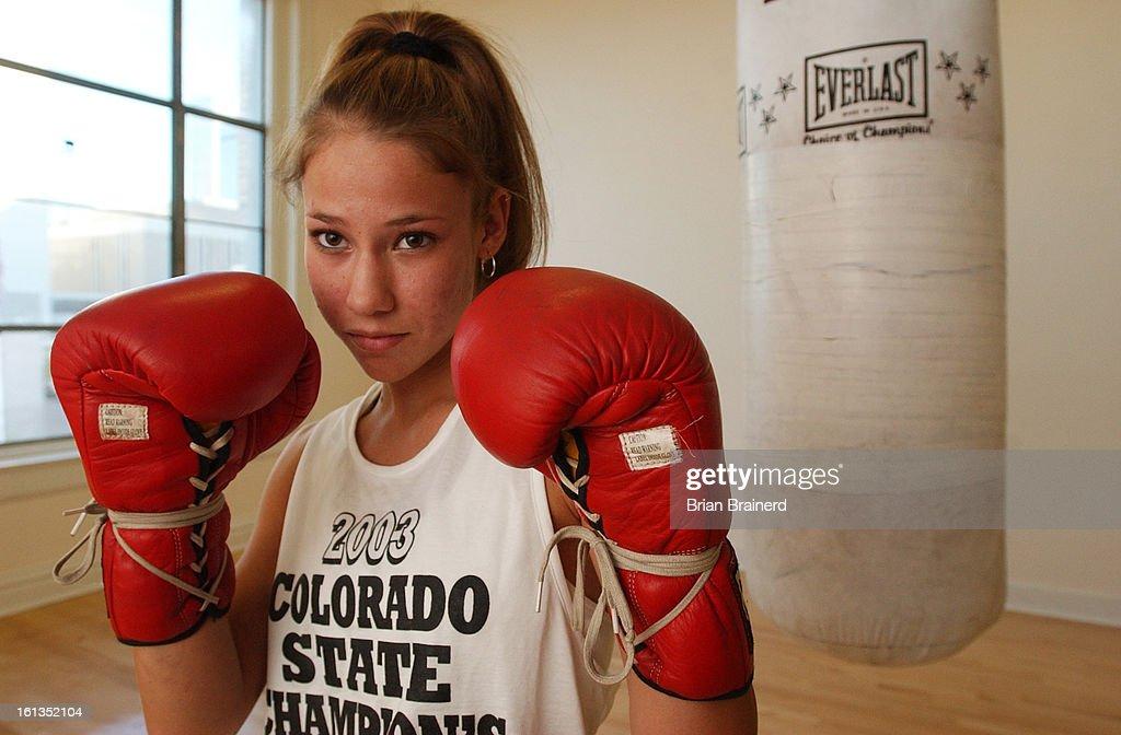 DENVER, CO, SEPT  19, 2003 -- Boxer Natalie Gray training at the