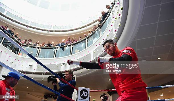 Boxer Nathan Cleverly in action during a public workout ahead of his fight against Tony Bellew at the Queens Arcade on November 17, 2014 in Cardiff,...