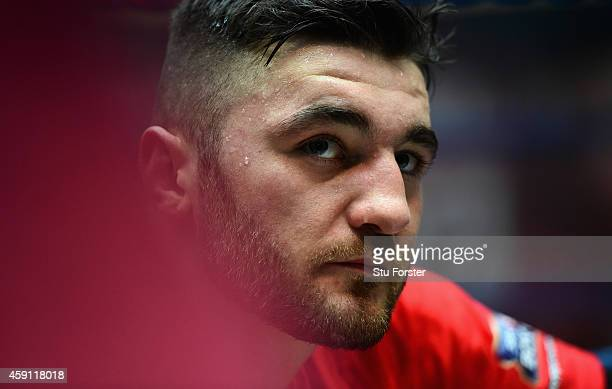 Boxer Nathan Cleverly looks on during a public workout ahead of his fight against Tony Bellew at the Queens Arcade on November 17, 2014 in Cardiff,...
