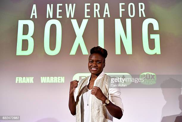 Boxer Nicola Adams poses during a Frank Warren Press Conference at the BT Tower on January 23 2017 in London England