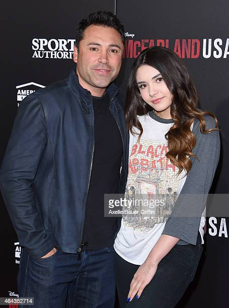 Boxer Oscar De La Hoya and daughter Atiana De La Hoya arrive at the World Premiere of Disney's 'McFarland USA' at the El Capitan Theatre on February...