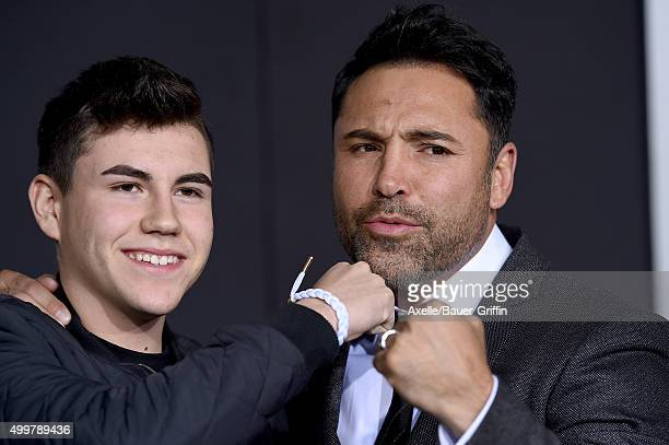 Boxer Oscar De La Hoya and son Devon De La Hoya arrive at the premiere of Warner Bros Pictures' 'Creed' at Regency Village Theatre on November 19...