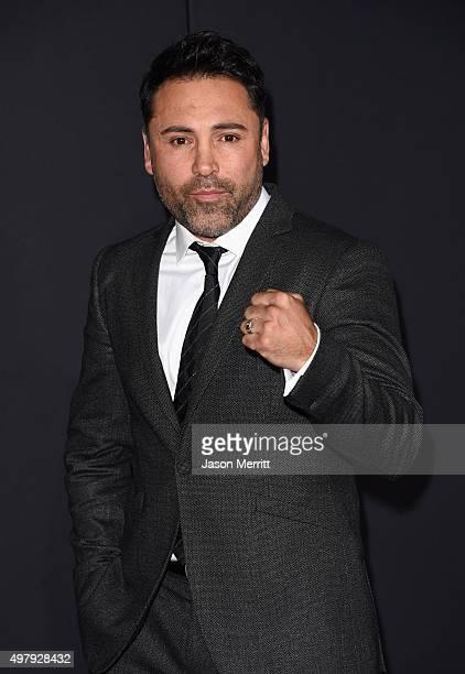 "Boxer Oscar De La Hoya attends Warner Bros. Pictures' ""Creed"" Premiere at Regency Village Theatre on November 19, 2015 in Westwood, California."