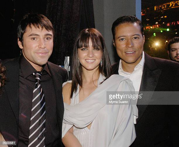 Boxer Oscar de la Hoya his wife Millie Corretjer and actor Yancey Arias attend People En Espanol's 25 Most Beautiful Celebrity Gala at the Roseland...