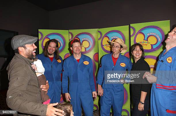 Boxer Oscar de la Hoya Scott Durbin David Poche Scott Smith Millie Corretjer and Rich Collins with Disney's Imagination Movers in Los Angeles during...
