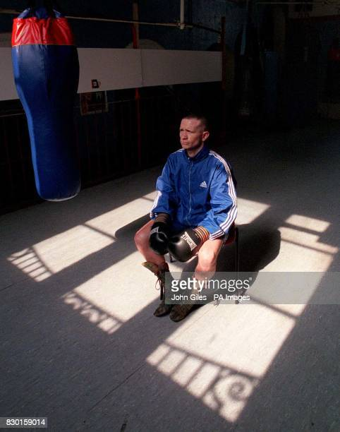 Boxer Paul Ingle during a break in training at a gym in Hull East Yorkshire prior to his WBO Featherweight World Championship boxing match against...