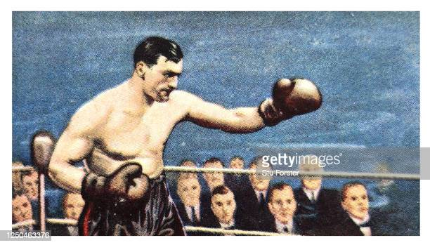 Boxer Primo Carnera illustrated on a Champion series Gallaher Tobacco Cigarette Card from 1934.