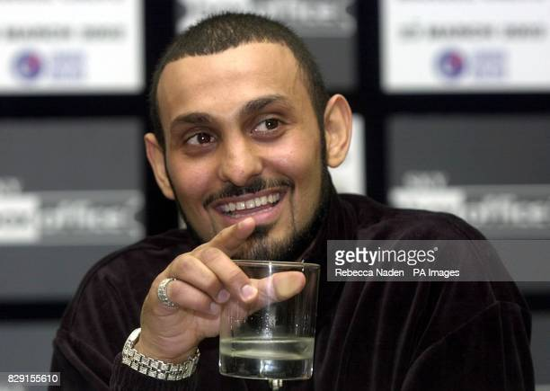 Boxer Prince Naseem Hamed at a press conference in London Tuesday 26th February 2002 to promote his fight against Spain's Manuel Calvo at the London...