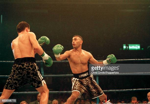 Boxer Prince Naseem Hamed of Great Britain in action during his WBO featherweight championship fight against Jose Badillo of Puerto Rico in Sheffield...