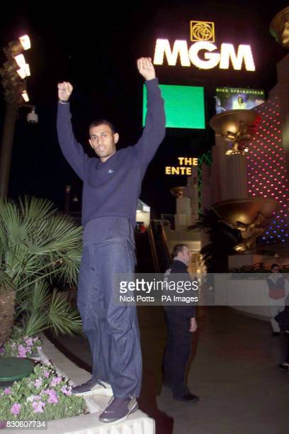 Boxer Prince Naseem Hamed poses outside the MGM Hotel in Las Vegas, USA, ahead of his IBO Featherweight title boxing match against Marco Antonia...