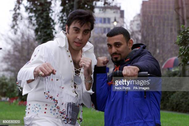 Boxer Prince Naseem Hamed with Elvis impersonator 'Mario' at The Four Seasons Hotel London announcing the date of his next fight Hamed will meet...