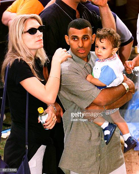 Boxer Prince Naseem Hamed with his wife Eleasha and his son Sami Naseem Salem Hamed in the audience during Capital FM's Party in the Park 1999 in...