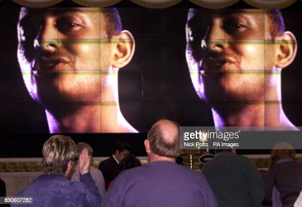 Boxer Prince Naseem Hamed's face on a promo advert at the MGM Hotel's front desk promoting Saturday's big Las Vegas IBO Featherweight title fight...