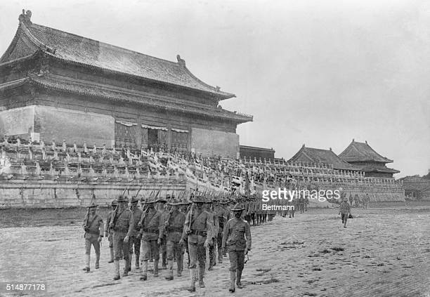 Boxer Rebellion American troops marching in the Temple of Agriculture grounds Peking China Photo 1900