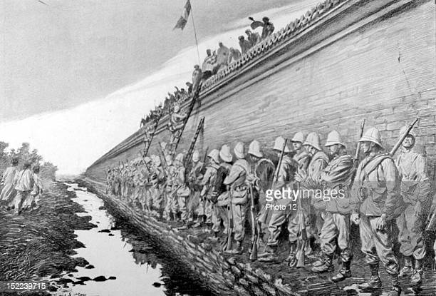 Boxer Rebellion Delivery of Pet'ang in Peking August 16 The 'Marsouins' climbing the walls of the imperial city