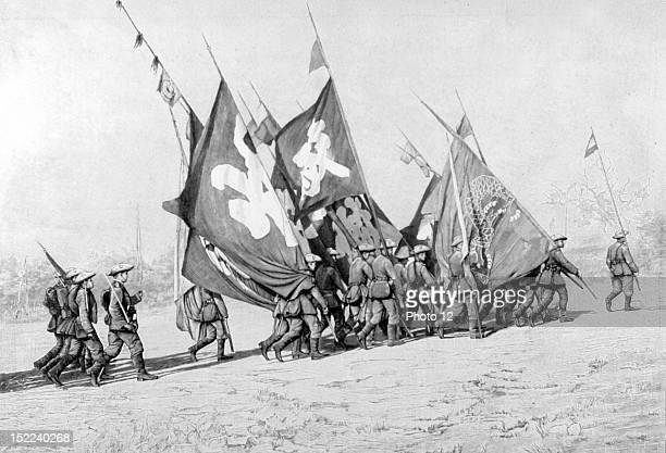 Boxer Rebellion International troops bringing back from the Peit'ang expedition the flags captured to the Chinese