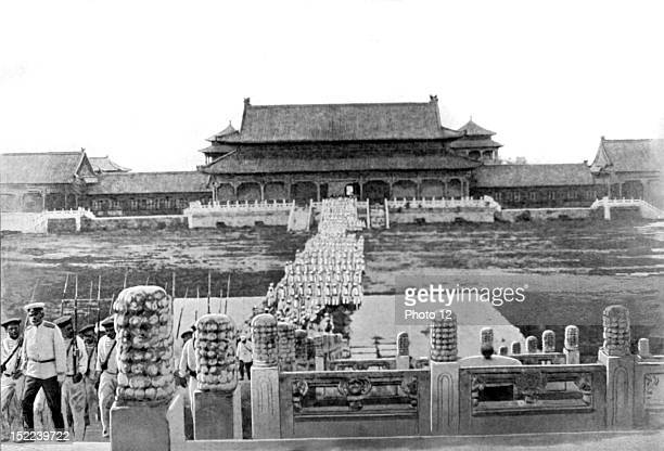 Boxer Rebellion The Russian military parade crossing one of the courtyards of the Imperial Palace August 26 in Peking