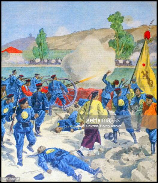 Boxer rebels with flag in action during a battle in the Boxer Uprising or Yihequan Movement This was a violent antiforeign and antiChristian uprising...