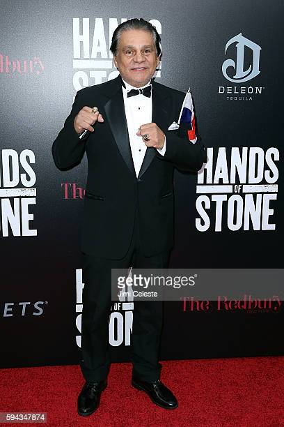 Boxer Roberto Duran attends The Weinstein Company Presents the US Premiere of 'Hands of Stone' at SVA Theater on August 22 2016 in New York City