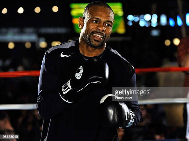Boxer Roy Jones Jr. Works out at the Mandalay Bay Resort & Casino March 30, 2010 in Las Vegas, Nevada. Jones will face Bernard Hopkins in a light...