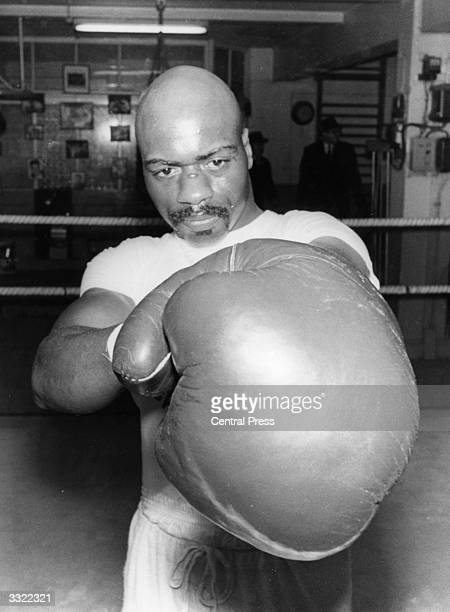 Boxer Rubin Carter trains in the ring