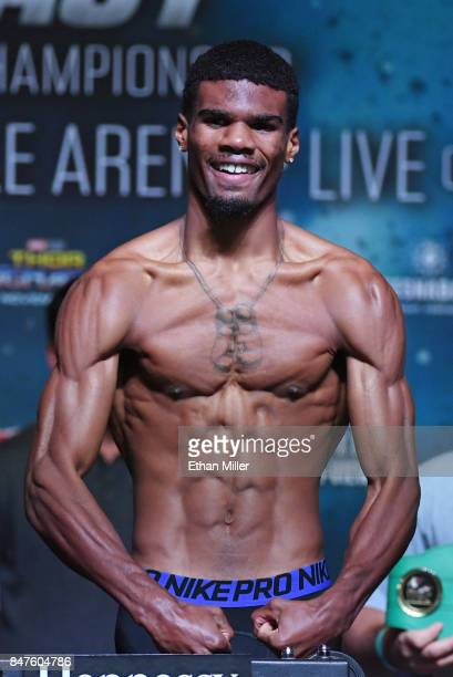 Boxer Ryan Martin poses on the scale during his official weighin at MGM Grand Garden Arena on September 15 2017 in Las Vegas Nevada Martin will face...
