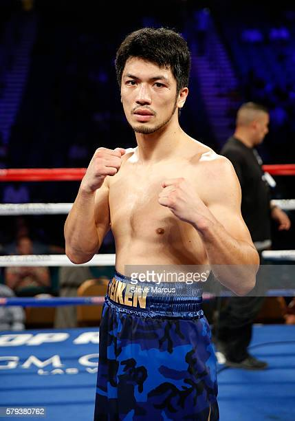 Boxer Ryota Murata of Japan poses in the ring following his firstround TKO over George Tahdooahnippah in a middleweight bout at MGM Grand Garden...