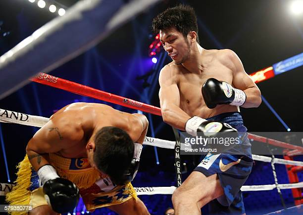 Boxer Ryota Murata of Japan punches George Tahdooahnippah during their middleweight fight at MGM Grand Garden Arena on July 23 2016 in Las Vegas...