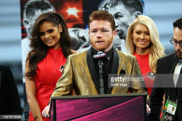 Boxer Saul Canelo Alvarez after defeating Gennady Golovkin talks at a press conference at TMobile Arena on September 15 2018 in Las Vegas Nevada