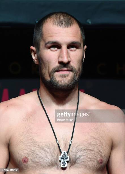 Boxer Sergey Kovalev poses on the scale during his official weigh-in at the Mandalay Bay Events Center on June 16, 2017 in Las Vegas, Nevada. Kovalev...