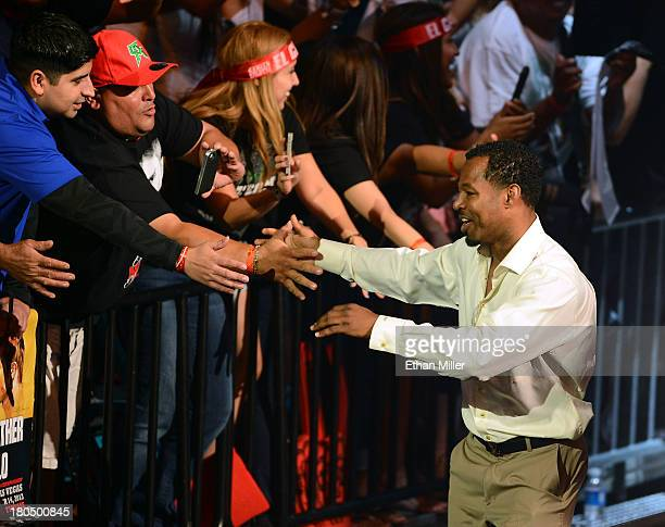 Boxer Shane Mosley greets fans as he is introduced at the official weighin for boxers Floyd Mayweather Jr and Canelo Alvarez at the MGM Grand Garden...