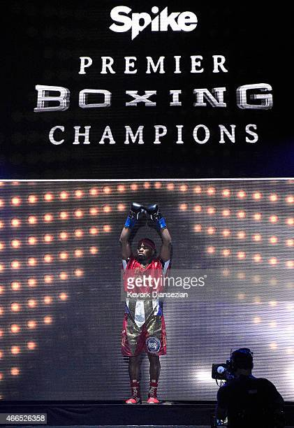 Boxer Shawn Porter is introduced for his welterweight bout against Erick Bone at Citizens Business Bank Arena March 13 2015 in Ontario California