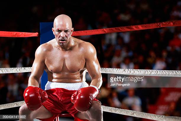 boxer sitting in corner - fighting ring stock pictures, royalty-free photos & images